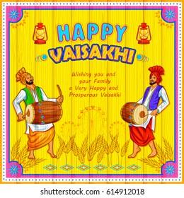 Punjabi culture images stock photos vectors shutterstock illustration of happy vaisakhi punjabi festival celebration background malvernweather Images