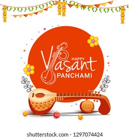 illustration of happy vasant panchami indian festival background.