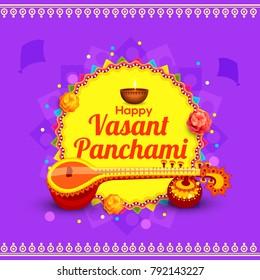 illustration of happy vasant panchami indian festival background.