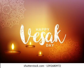 Illustration Of Happy vesak Day Or Buddha Purnima Background.