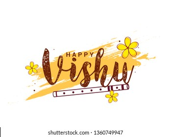 Illustration of Happy Vishu Typography Design Traditional Background.
