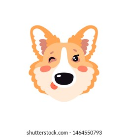 Illustration with happy winking Corgi dog. Cute childish design, kid background element for room birthday decor, baby shower invitation card, t-shirt print, positive emotions, badge