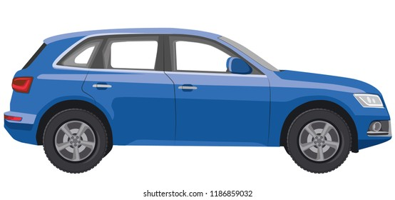 illustration of hatchback car in side view