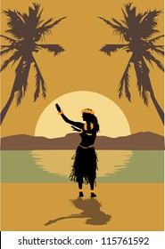 Illustration of Hawaii woman dancing on the beach at sunset
