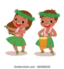 illustration of hawaiian boy playing drum and hawaiian girl hula dancing