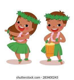 illustration of hawaiian boy playing drum and hawaiian girl hula dancing