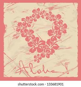 Illustration of Hawaiian flower garland on a retro background