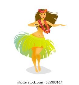 Illustration of a Hawaiian hula dancer woman dancing in a grass skirt