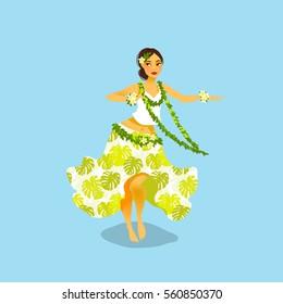 Illustration of a Hawaiian hula dancer woman in dress with tropic pattern