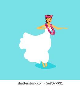 Illustration of a Hawaiian hula dancer woman in long dress