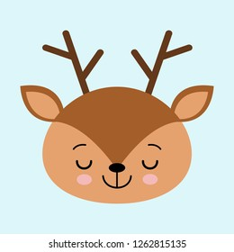 Illustration of a head of a cute sleeping deer on a blue background. cartoon character