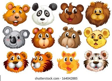 Illustration of the head of the different animals on a white background
