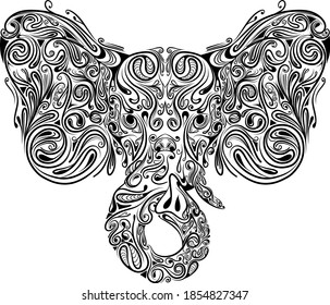The illustration of the head elephant with the zentangle art full of the head for the drawing inspiration