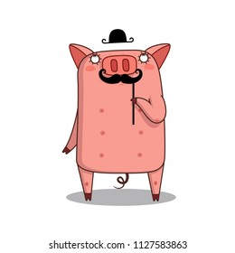 Illustration of head of PIG-gentleman in a HAT Moustaches. Vector.