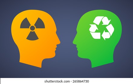 Illustration of a head set with a radio activity and a recycle sign