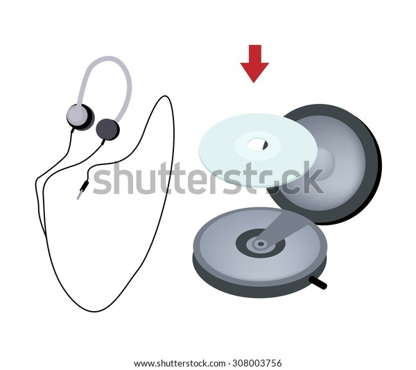 Illustration of Headphones or Headphones Used with CD and DVD Player or Walkman Isolated on White Background.
