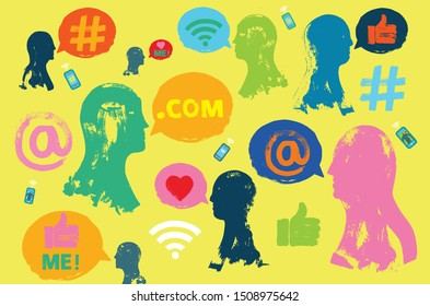 Illustration with Heads, Social Media Symbols, Speech Bubbles, and Smartphones, Influencers influencing, Grunge Texture, Influencers, Influencing People, Millennials, Marketing, Hashtags, at Symbol