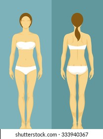 illustration of a healthy young woman from front and back view