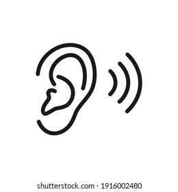 illustration of a hearing human ear icon