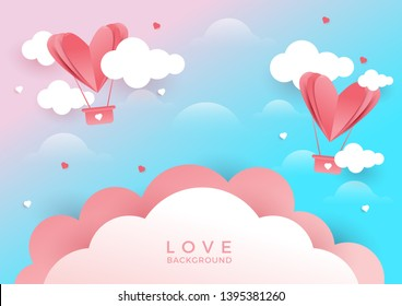 Illustration of Heart flying on pink background. Concept background of love, valentine's day, happy women's, mother's day. Romantic concept