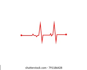 Illustration of heart rhythm or heart wave, Red electrocardiogram or cardiogram lines of heart on white background using for healthcare and medical concept.