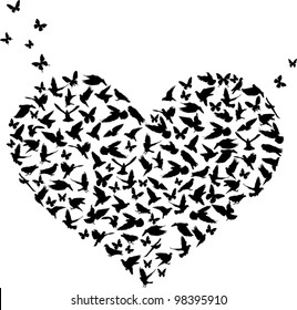 illustration with heart shape symbol formed from butterflies and birds