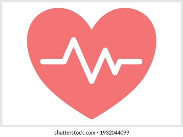 Illustration of heart and simple design of the electrocardiogram