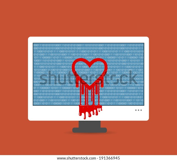 Illustration of the heartbleed bug on the computer screen
