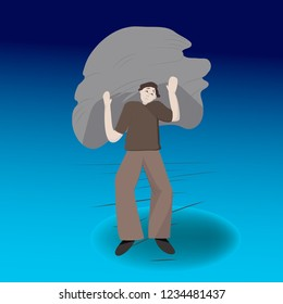 Illustration of heavy burden. Man carrying a heavy stone, emotions how hard it is to battle a stress.