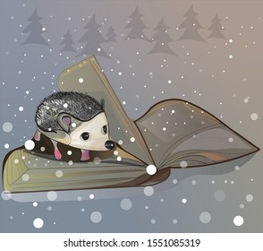 illustration of a hedgehog on a book on a Christmas background