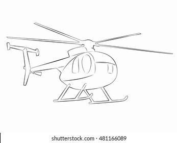 illustration of helicopter. black and white drawing, white background