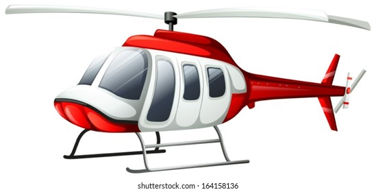 Illustration of a helicopter flying on a white background