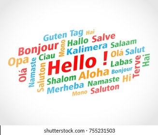 Illustration of hello words cloud concept background