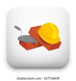 illustration of Helmet Bricks and Trowel icon