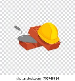 illustration of Helmet Bricks and Trowel icon