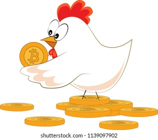 Illustration of a hen with bitcoin