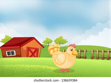 Illustration of a hen in the farm with a wooden house at the back