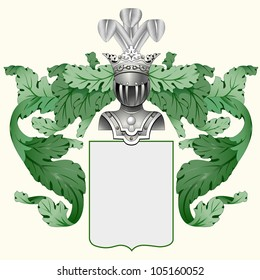 Illustration of a heraldic crest or family coat of arms