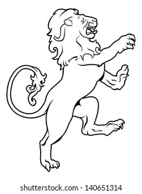 Illustration of a heraldic lion on its hind legs, like those found on a crest emblem or coat of arms on a shield