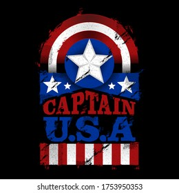 illustration Hero vector design, with text Captain United states of america, a shield and star