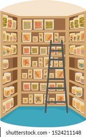Illustration of a Herpetology Lab with a Ladder and Shelves Full of Jars and Specimen