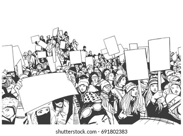 Illustration of high school students demonstrating with blank signs in black and white
