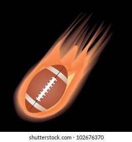 illustration of highly rendered fire effect football, isolated in black background.
