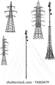illustration with high-voltage lines isolated on white background