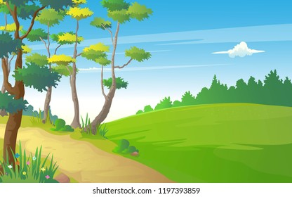 Illustration of hills path way in tranquil view of nature