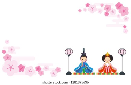 Illustration of hina doll. Frame of peach blossom.