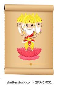 Illustration of Hindu God Brahma