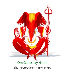 "illustration of Hindu God Lord Ganesha in abstract painting style for Hindu festival ""Ganesh Chaturthi"""