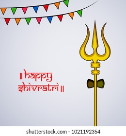 Illustration of Hindu God, Lord Shiva's Trishul for the ocassion of Shivratri festival