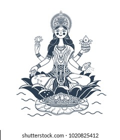 Illustration with hindu godess Laxmi or lakshmi. Icon, silhouette in a linear style